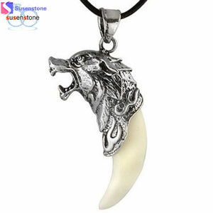 SUSENSTONE New Man Wolf Tooth Necklace Titanium Steel Domineering Pendant Jewelry