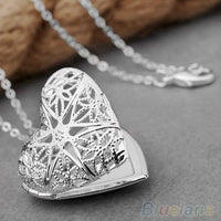 Bluelans Women's Fashion Silver Plated Hollow Out Heart Photo Locket Pendant Necklace  1PBU