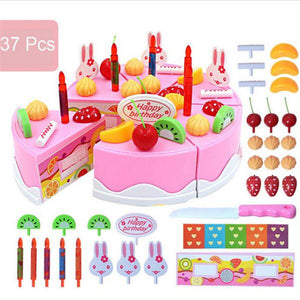 37pcs Pretend Role Play Kitchen Toy Happy Birthday Cake Food Cutting Set Kids