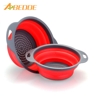 ABEDOE 2pcs/set Foldable Silicone Colander Fruit Vegetable Washing Basket Strainer Collapsible Drainer With Handle Kitchen Tool