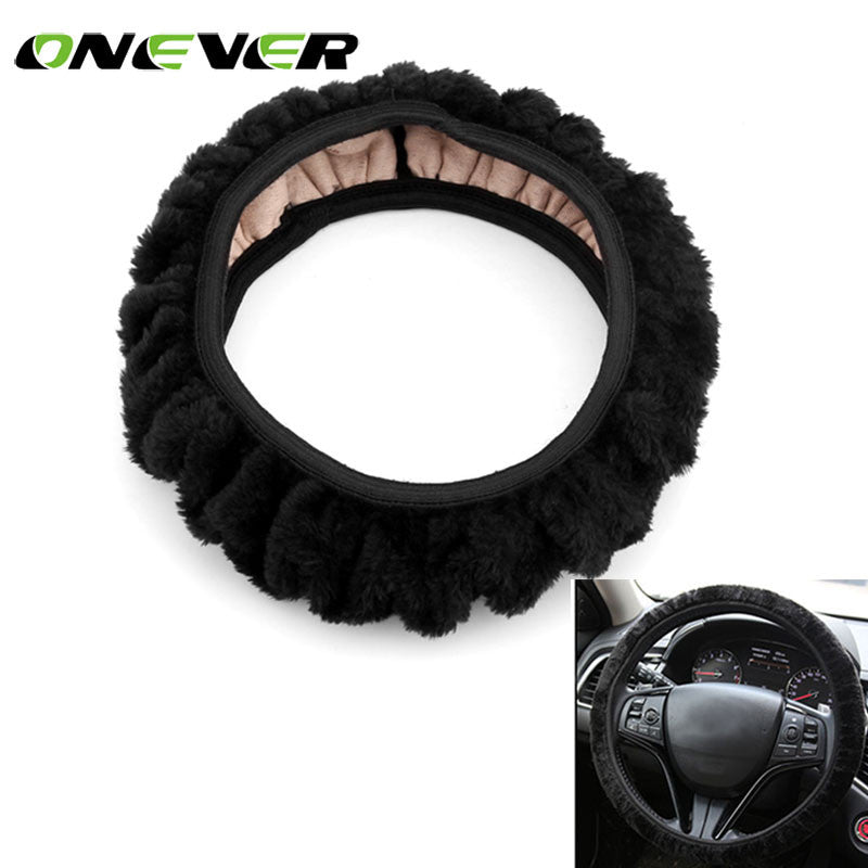 Onever universal Plush Car Steering Wheel Cover Winter Warm Car Styling Car Auto Steering Wheel cover Car Accessories black