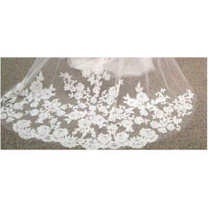 Embroidered Lace Edge Bridal Wedding Veil (with comb)