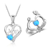 Blue Opal Stone Heart Necklace & Ring Gift Set (925 Sterling Silver)