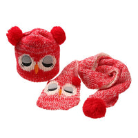 Baby Caps Children's Winter Hat Hats For Girls Boys Kids Hat Scarf Set Knitted Cartoon Owl Hats for Children 1 to 4 Years