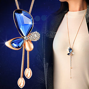 SHUANGR OL Collares Largos Butterfly Pendant Necklaces Sweater Chain  Gem  Crystal Necklace Long Tassel Necklace