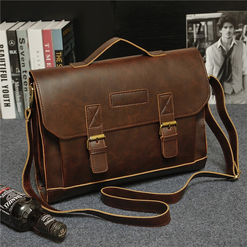 Leather Vintage Retro Business Messenger Briefcase