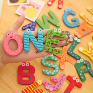 26 Letters Wooden Cartoon Fridge Magnet kid Baby Educational Toy