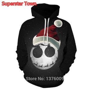 Nightmare Before Christmas Hoodies Santa Jack Skull Unisex Hoody Pullover