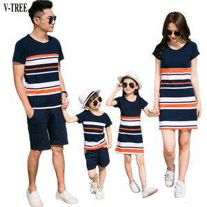Family Matching Striped Outfits