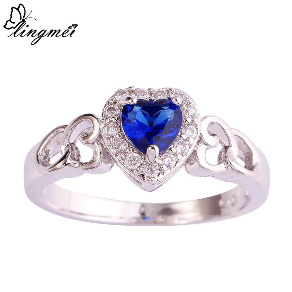 lingmei Wholesale Heart Cut Blue & White CZ Silver Color Ring Size 6 7 8 9 10 11 12 13