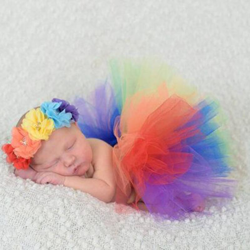 2pcs/Set Rainbow Tutu Skirt + Flower Headband Photo Prop Costume