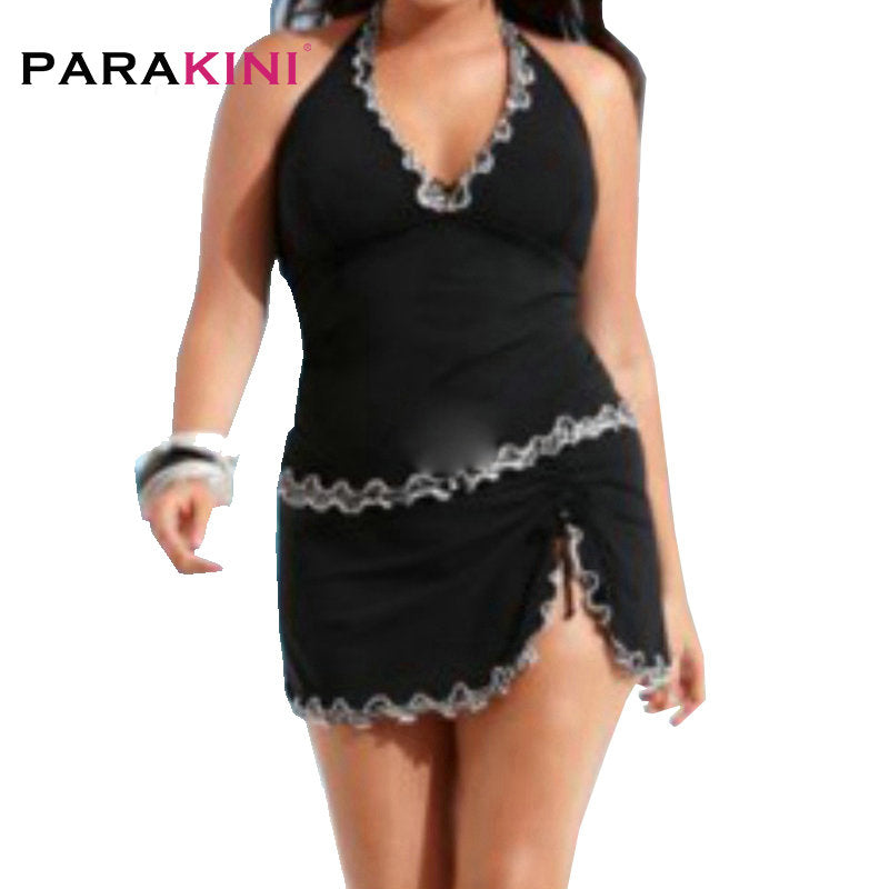 Black Halter Plus Size Tankini