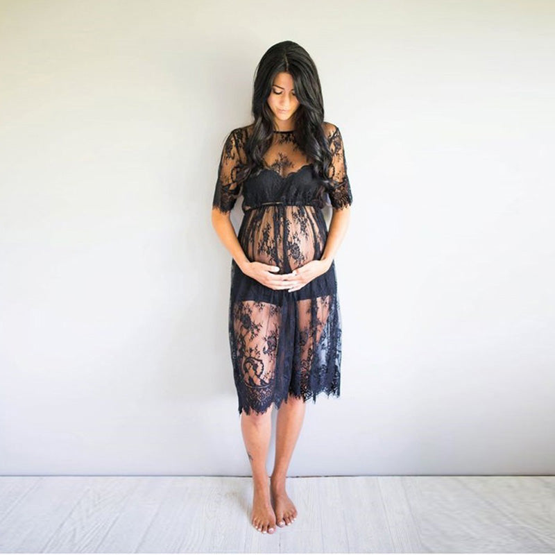 Transparent Black Lace Maternity Dress