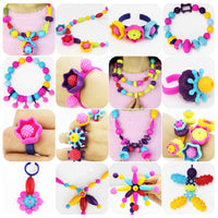 500/300/150pcs DIY Pop Beads Children Cordless Snap Together Toy Craft Jewelry Ring Necklace Bracelet Making Kit Kids Girls Gift