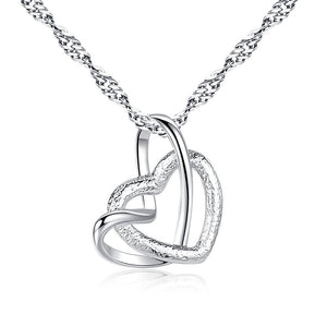 Double Heart Shaped Necklace Pendant