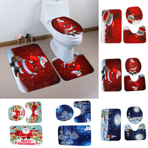 3pcs/set Printed Cartoon Christmas Toilet Seat Cover Christmas Decorations Happy Snowman Santa Bathroom Toilet Seat Cover Rug