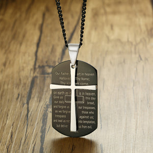 The Lord's Prayer Stainless Steel Dog Tag Necklace