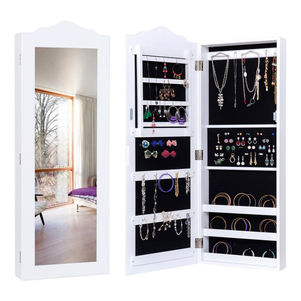 Wall Mounted Mirrored Jewelry Cabinet