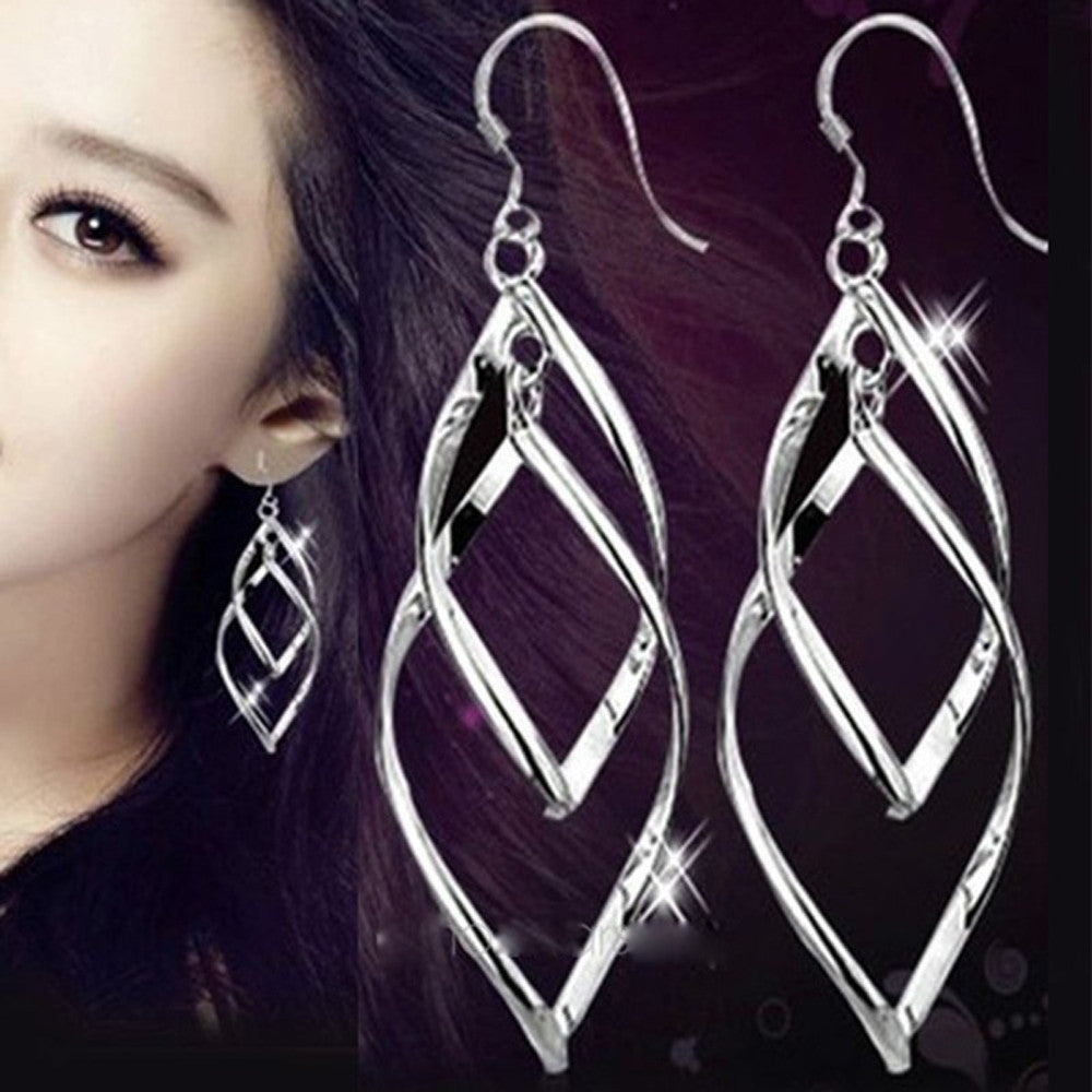 Fashion Woman One Pair Sterling Silver Leaf Eardrop Earring