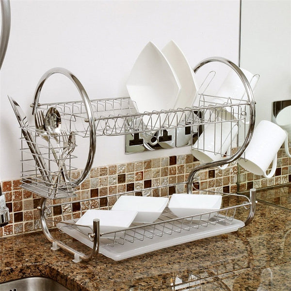 2 Tier Chrome Plate Dish Cup Storage Holder Rack Cutlery Drainer Rack Universal Kitchen Organizer Drip Tray Bowl Shelf