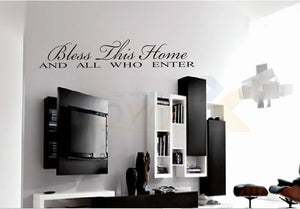 """Bless This Home"" English Quote Vinyl wall art"