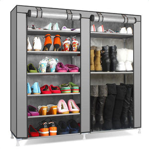 Double Rows 9 Lattices Combination Style Shoe Cabinet Gray