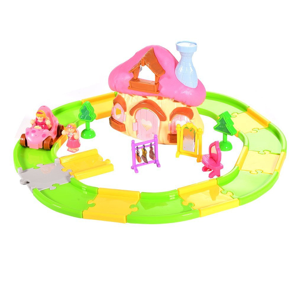 Princess Mushroom House with Pull Back Car & Track