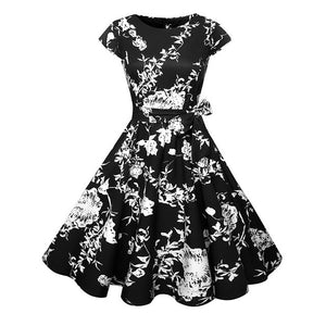 Vintage Floral Print Summer Dress (Various Color Options)