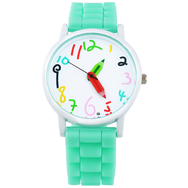 "Doreen Box Silicone Jelly Quartz Wrist Watches Pencil Pointer Children Kids Cute Battery Included 24.5cm(9 5/8"") long, 1 Piece"