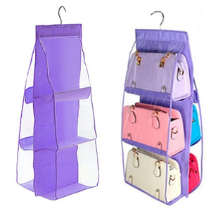 6 Pocket Hanging Handbag Purse Bag Tidy Organizer Storage Wardrobe Closet Hanger Storage Bags