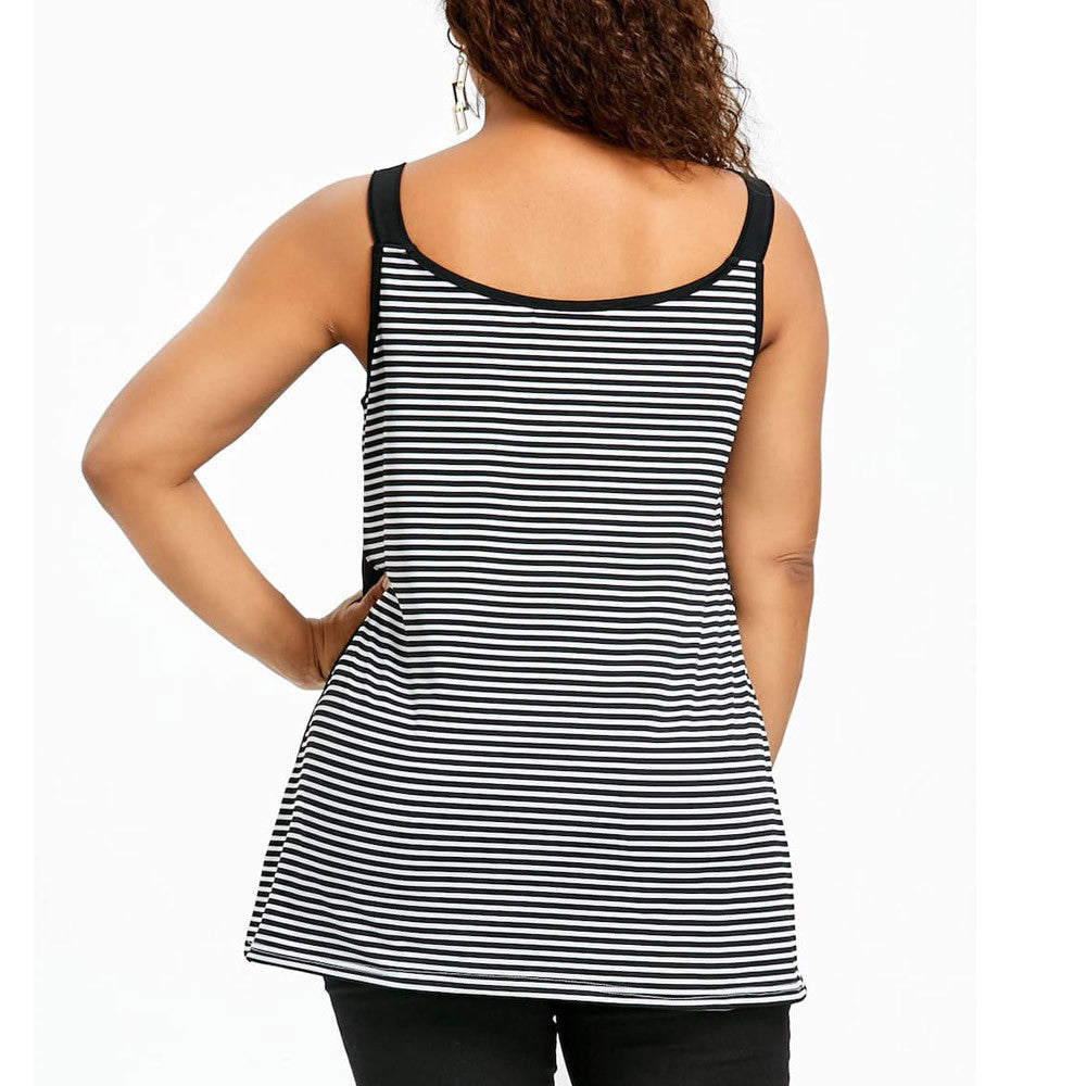 Plus Size Striped Patchwork Tank