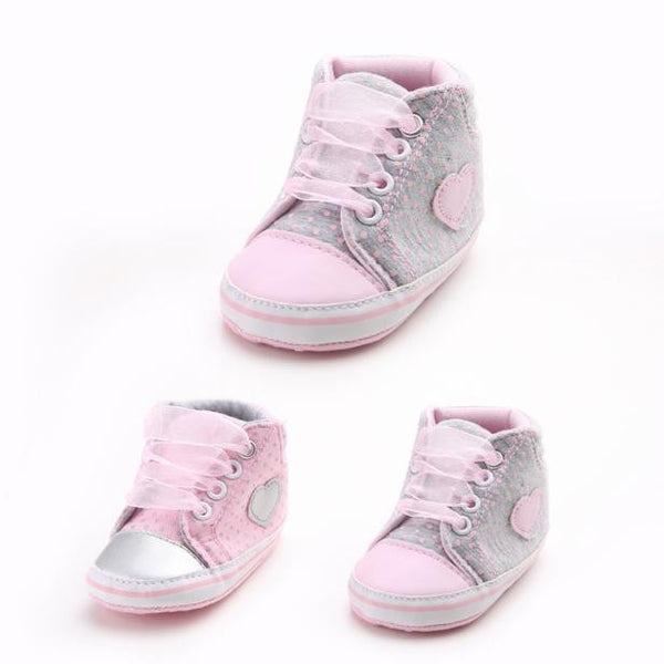 Baby Girl Canvas Heart Anti-slip Shoes
