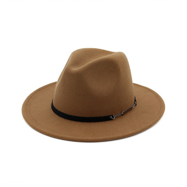 Flat Brim Wool Felt Fedora (Multiple Color Options)
