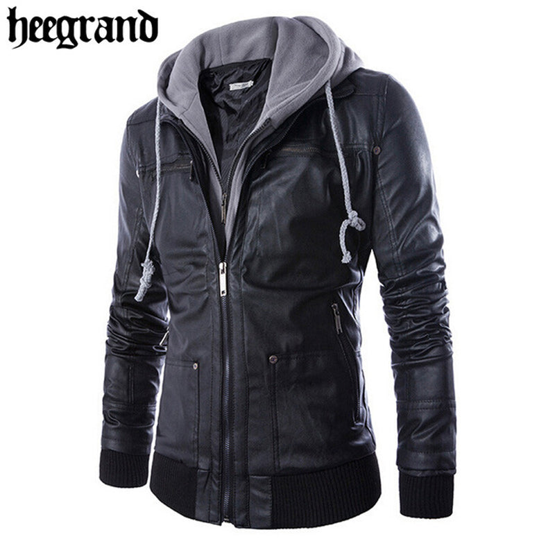 Men's Solid Hooded PU Leather Jacket