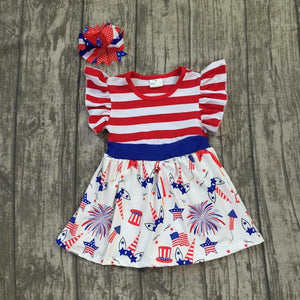 Girls Fourth of July Unicorn Dress with Matching Bow (12M-8)