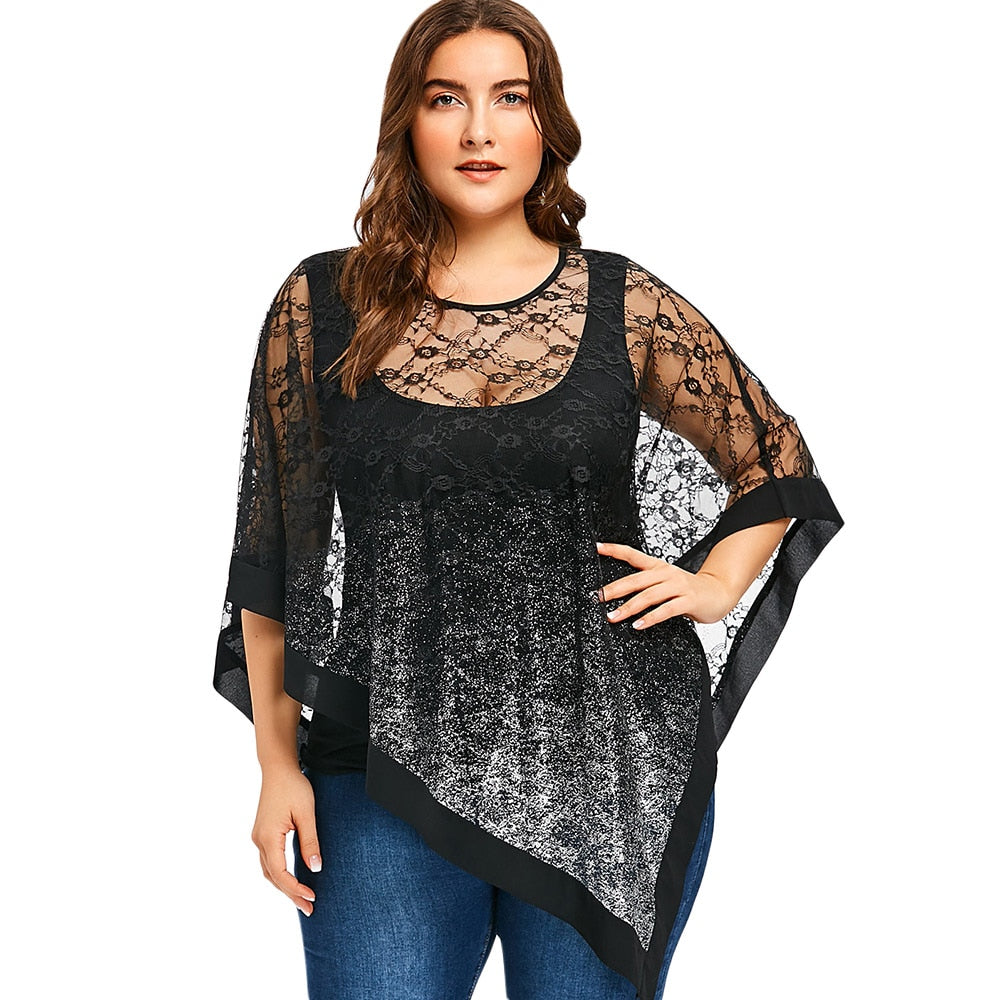 Gamiss Women Fashions Plus Size 5XL Sheer Asymmetric Lace Overlay Blouse