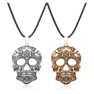 MQCHUN 2018 Fashion Classic Mexican Sugar Skull Necklace Day Of The Dead Skeleton Pendant Necklace Men's Charm Jewelry Gift