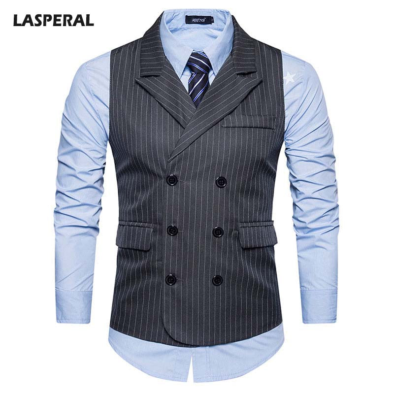 Double Breasted Striped Suit Vest