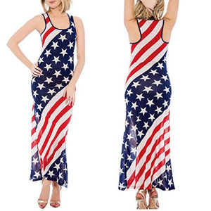American Flag Print Sleeveless Summer Dres