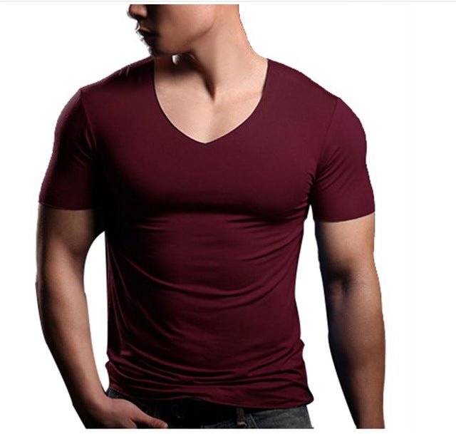 Pure Color Short Sleeve V-Neck Tee