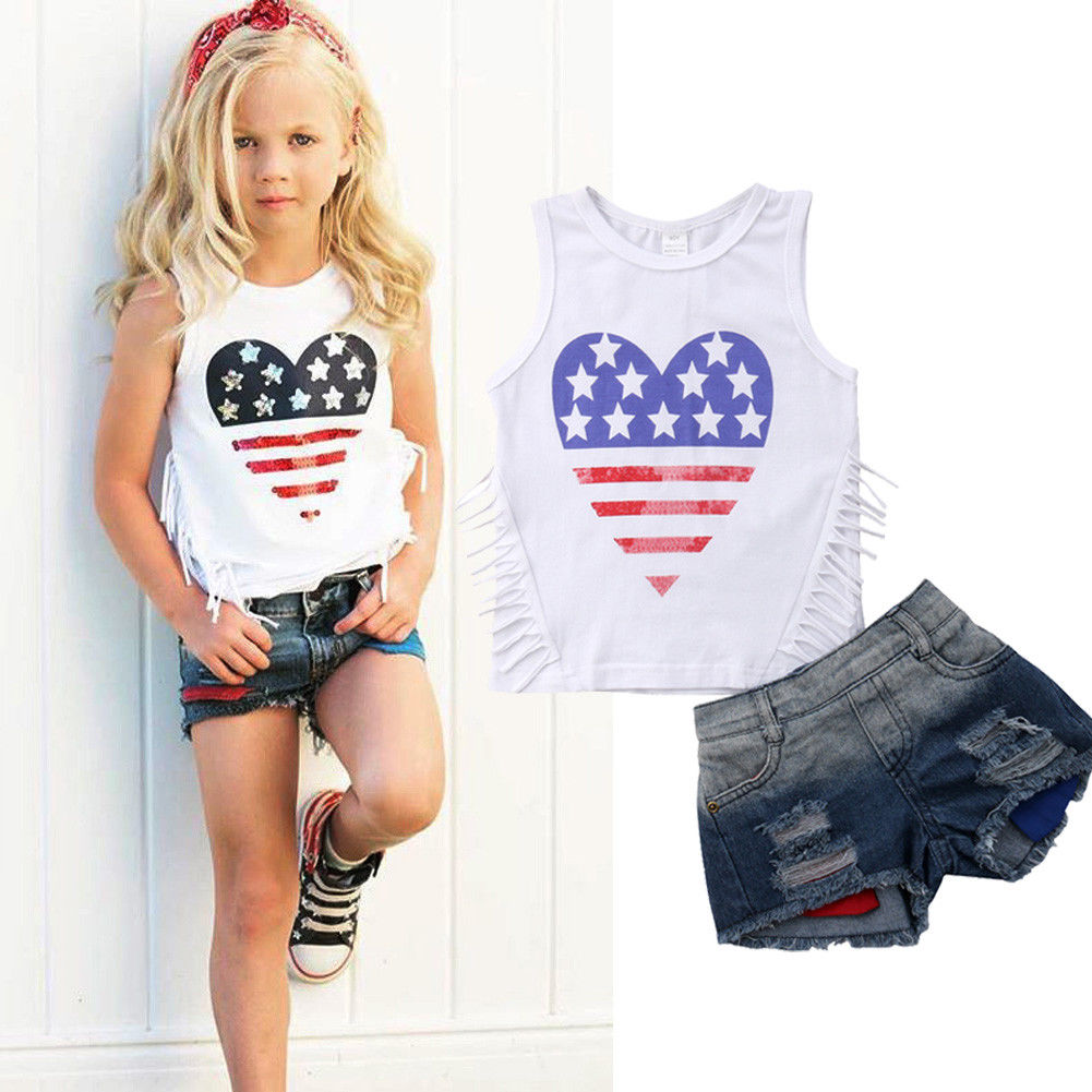 Girls Patriotic Heart Tassel Tank & Denim Shorts Outfit