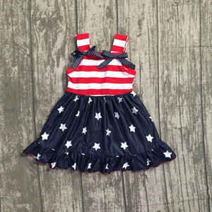 Red White & Blue Stars & Stripes Silky Dress (12M-8Y)