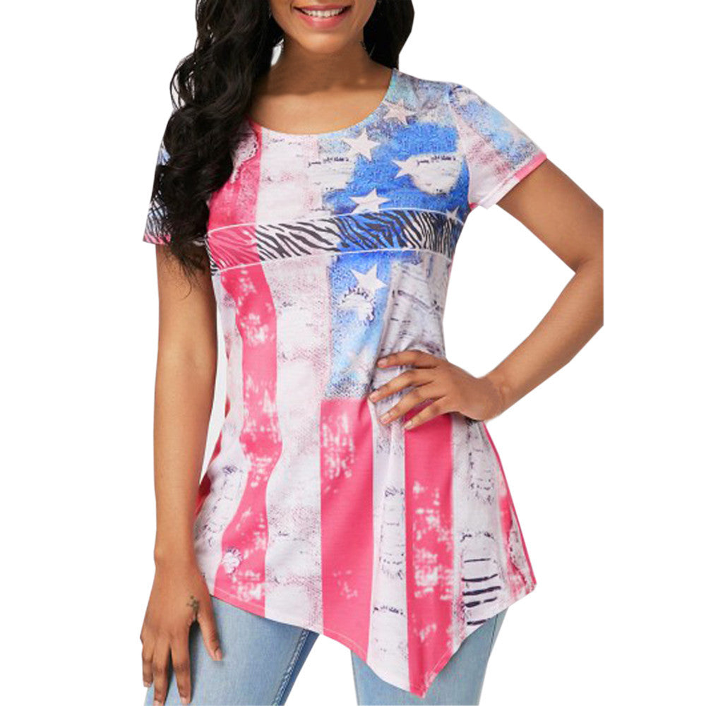 Flag Print Irregular Short Sleeve Shirt