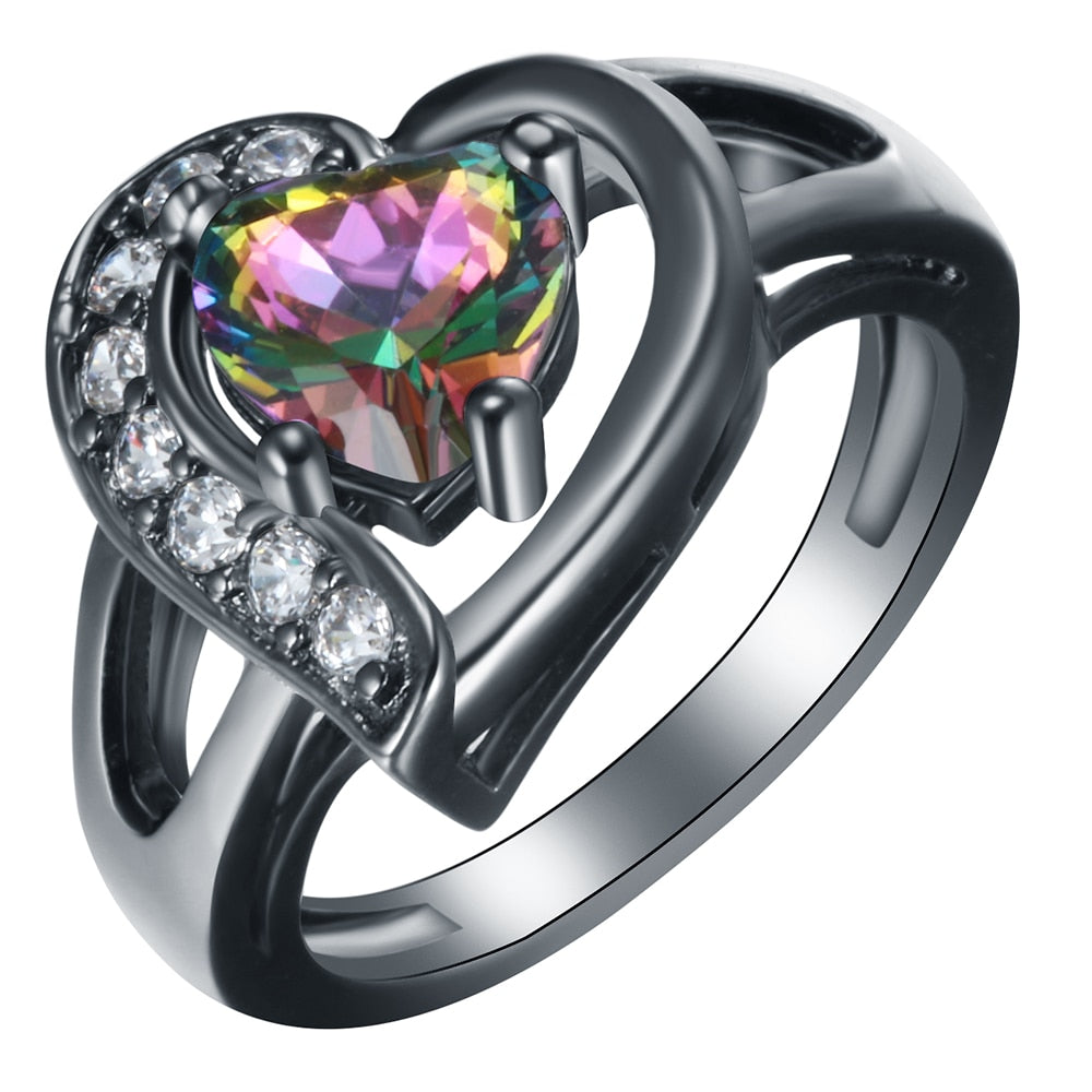 Fire magic rings opal blue red pink white Heart Zirconia
