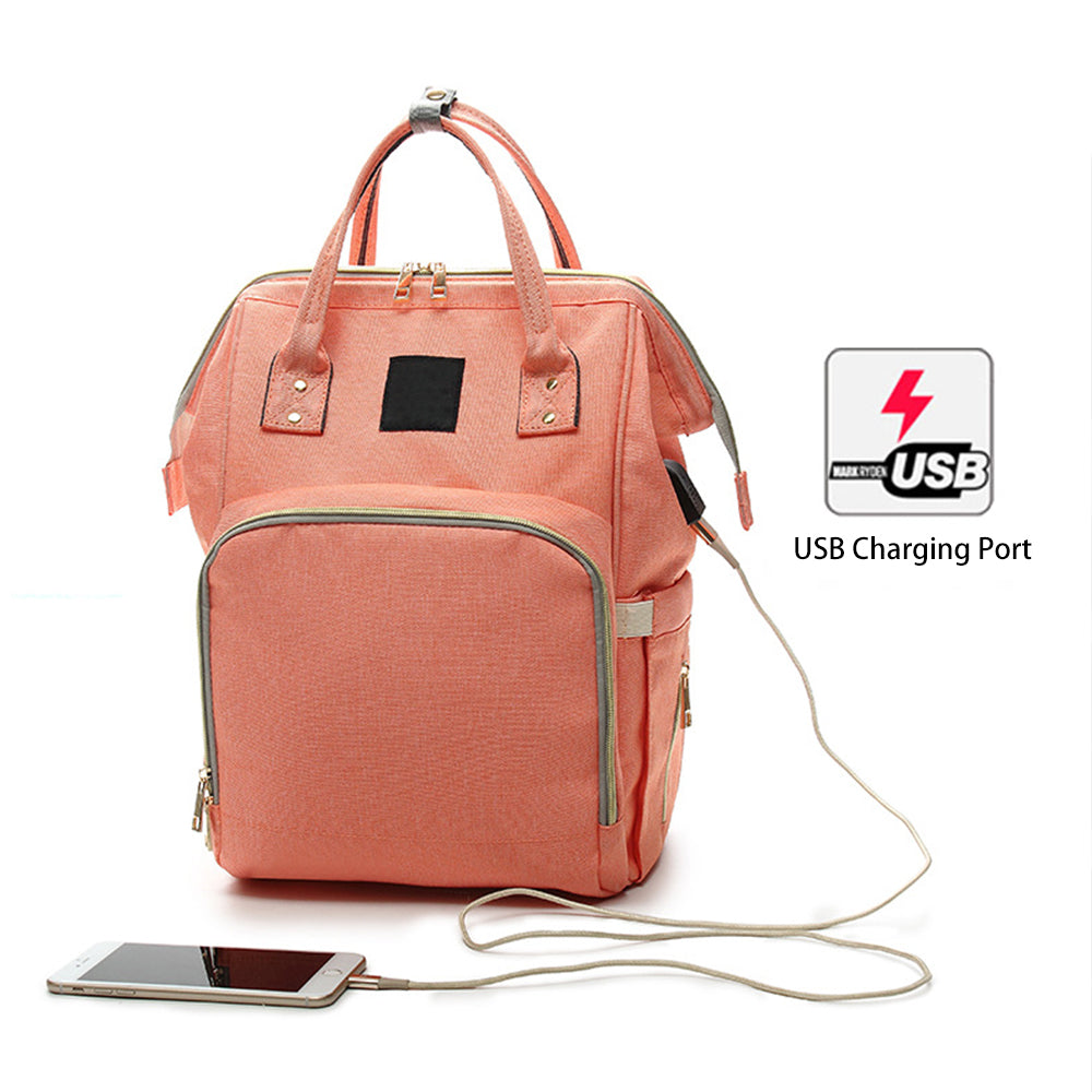 Waterproof Diaper Backpack with USB Charging Port (Assorted Colors)