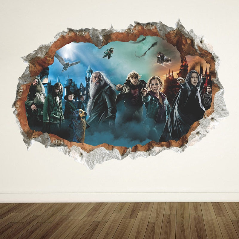 Harry Potter Poster 3D Wall Hole Wall Stickers Wizarding World School Decorations For Kids Room Decals Hogwarts Decorative Decor