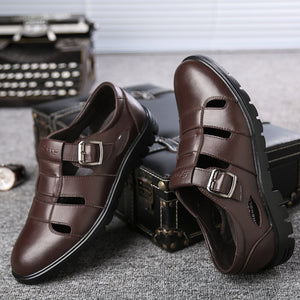 Closed Toe Casual Leather Sandals (Black or Brown)