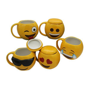 3D Smiley Emoticon Ceramic Coffee Mug with Lid