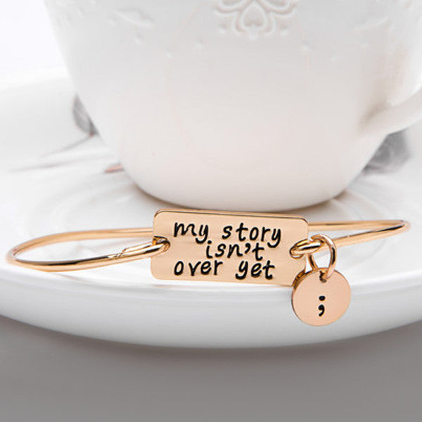My Story Isn't Over Yet Semicolon Charm Bangle