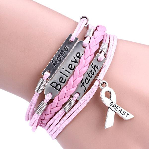 Hope Believe and Faith - Show Your Support Breast Cancer Awareness infinity  bracelet
